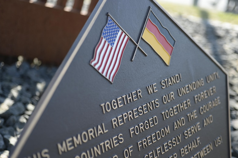 A memorial stands on Spangdahlem Air Base, Germany, Sept. 09, 2016, in remembrance to the Sept. 11, 2001 terrorist attacks on the U.S. Nearly 3,000 people lost their lives in the terrorist attacks from 90 different countries. (U.S. Air Force photo/Senior Airman Dawn M. Weber)