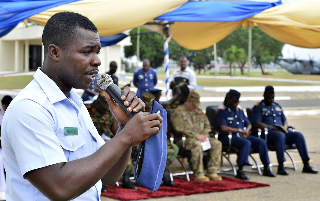 A Ghanaian airman gives an invocation during the opening ceremony of African Flight Partnership in Accra Air Base, Ghana, Sept. 12, 2016. APF is a premier program for delivering aviation security cooperation to African partners. (U.S. Air Force photo by Staff Sgt. Stephanie Longoria)