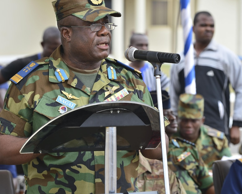 Ghanaian Air Advice Marshal Maxwell Nagai, welcomes African Partnership Flight participates to Accra Air Base, Ghana, during the opening ceremony Sept. 12, 2016. APF is a multi-lateral military-to-military engagement that enhances regional cooperation, increase interoperability and builds aviation capacity. (U.S. Air Force photo by Staff Sgt. Stephanie Longoria)