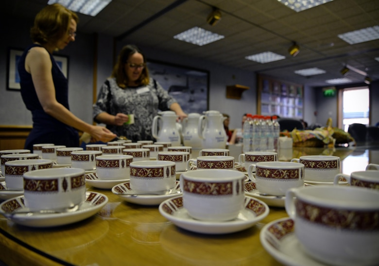 Spouses of U.S. Air Force members were treated to tea and scones in the 100th Air Refueling Wing conference room Sept. 8, 2016, on RAF Mildenhall, England. The Spouse Immersion Tour gave Team Mildenhall spouses an opportunity to network and gain a better understanding of programs and facilities on base.  (U.S. Air Force photo by Senior Airman Christine Christine Halan)