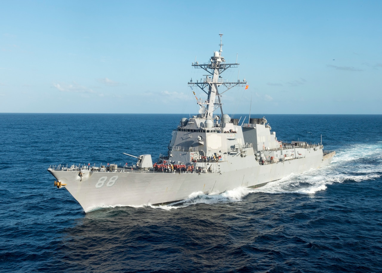 The destroyer USS Preble approaches the amphibious assault ship USS Bonhomme Richard for replenishment at sea, June 21, 2015. Bonhomme Richard is the lead ship of the Bonhomme Richard Expeditionary Strike Group and was on patrol in the U.S. 7th Fleet area of operations. Navy photo by Petty Officer 3rd Class Taylor A. Elberg