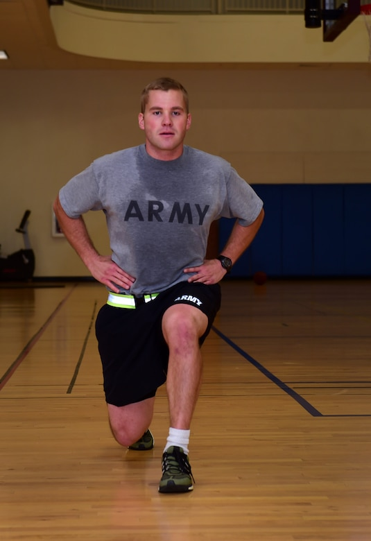 U.S. Army Sgt. Gary Andrews, 743D Military Intelligence Battalion Bravo company operations platoon physical training NCO in charge, performs a personal workout, including lunges, Sept. 9, 2016, at the Buckley Fitness Center on Buckley Air Force Base, Colo. The Buckley Fitness Center offers many different spaces for personal workouts, group physical training and weightlifting. (U.S. Air Force photo by Airman 1st Class Gabrielle Spradling/Released)