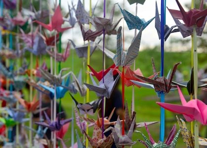 The 1,000 crane curtain hangs during the Out of the Darkness Community Walk at Mount Trashmore Park, Virginia Beach, Va., Sept. 10, 2016. The crane was chosen to represent the Out of the Darkness Community Walk as it, over the centuries, has become a symbol of healing, happiness and hope. In Japan people believed this ancient bird lived for a 1,000 years. Legend has it that, if you fold 1000 paper cranes, your prayers will be answered. Volunteers of the Walk have folded this many with our prayers for peace, not only for those who presently suffer from depression but also for those who have died by suicide. (U.S. Air Force photo by Tech. Sgt. Daylena S. Ricks)