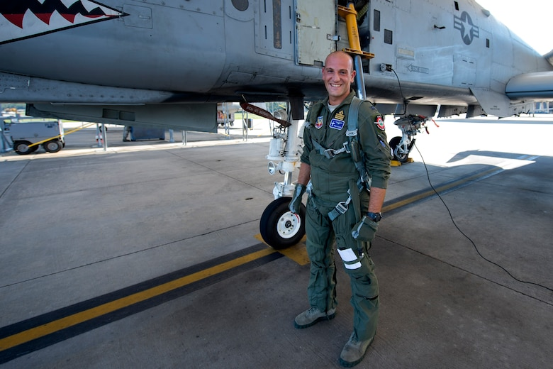 Italian exchange pilot Roberto Manzo, 74th Fighter Squadron training assistant, poses for a photo before flying, Aug. 25, 2016, at Moody Air Force Base, Ga. Manzo was raised in Rome, Italy and developed a desire to become a pilot after seeing jets fly for the first time. (U.S. Air Force photo by Airman 1st Class Janiqua P. Robinson)