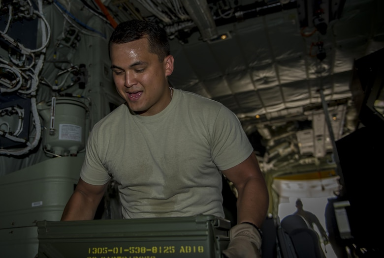 Staff Sgt. Joshua Thorn, an aerial gunner with the 1st Special Operations Group Detachment 2, loads 30 mm rounds onto an AC-130J Ghostrider gunship at Hurlburt Field, Fla. Sept. 6, 2016. The AC-130J is modified with the Precision Strike Package, which includes a mission management console, robust communications suite, two electro-optical/infrared sensors, advanced fire control equipment, precision guided munitions delivery capability as well as trainable 30mm and 105mm weapons. (U.S. Air Force photo by Airman 1st Class Isaac O. Guest IV)