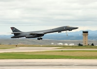 A B-1 bomber takes off from the runway while using full afterburners at Ellsworth Air Force Base, S.D., Sept. 12, 2016. The take-off was an opportunity to showcase the capabilities of the B-1 as part of a visit by international defense attachés from all over the world. (U.S. Air Force photo by Airman 1st Class Marshall L. Brown)