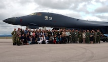 Members of a delegation of foreign Attachés stand for a group photo in front of a B-1 bomber at Ellsworth Air Force Base, S.D., Sept. 12, 2016. The group included more than 30 senior officers from a multitude of countries, including China, the Netherlands and Canada. (U.S. Air Force photo by Airman 1st Class Donald C. Knechtel)