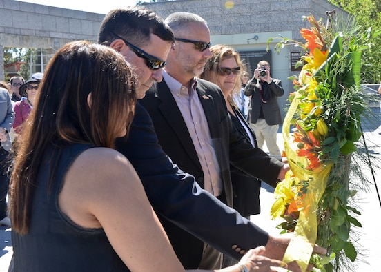 Senior foreign and U.S. attachés lay a wreath at the Mount Rushmore National Memorial, S.D., Sept. 11, 2016, on behalf of the Foreign Defense Attaché Corps. The wreath laying ceremony was conducted in honor of the 15th anniversary of the attacks on Sept. 11, 2001, that occurred in New York, Virginia and Pennsylvania. (U.S. Air Force photo by Senior Airman Anania Tekurio)