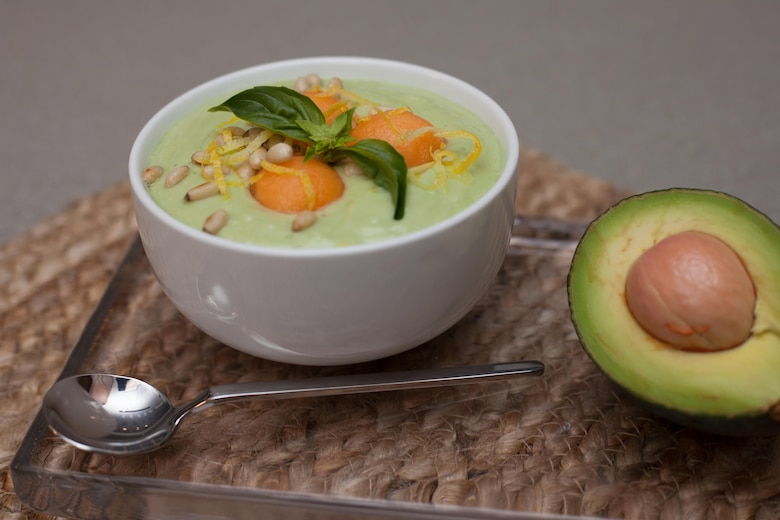 Chilled Avocado and Yogurt Soup with Melon Recipe