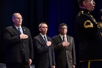 (Left to right) Deputy Defense Secretary Bob Work, Undersecretary of Defense for Intelligence Marcel Lettre and Director of Administration and Management Michael L. Rhodes render honors as an Army vocalist sings the national anthem during the 4th Estate Presidential Rank Awards ceremony at the Pentagon, June 21, 2016. Lettre spoke at the Atlantic Council in Washington, Sept. 13, 2016, discussing the need for transparency in the intelligence community. DoD photo by Air Force Senior Master Sgt. Adrian Cadiz