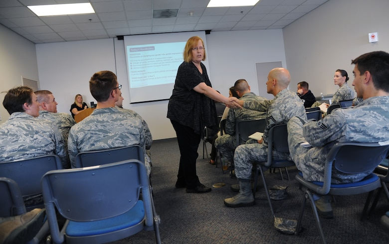 Jenn Burleton, executive director for TransActive Gender Center, Portland, (photo center), takes part in a role playing exercise with Senior Master Sgt. Tony Dutra, 142nd Fighter Wing Human Resources advisor, during the monthly Wing Diversity and Inclusion Counsel meeting, Portland Air National Guard Base, Ore., Sept. 11, 2016. (U.S. Air National Guard photo by Tech. Sgt. John Hughel, 142nd Fighter Wing Public Affairs/Released)