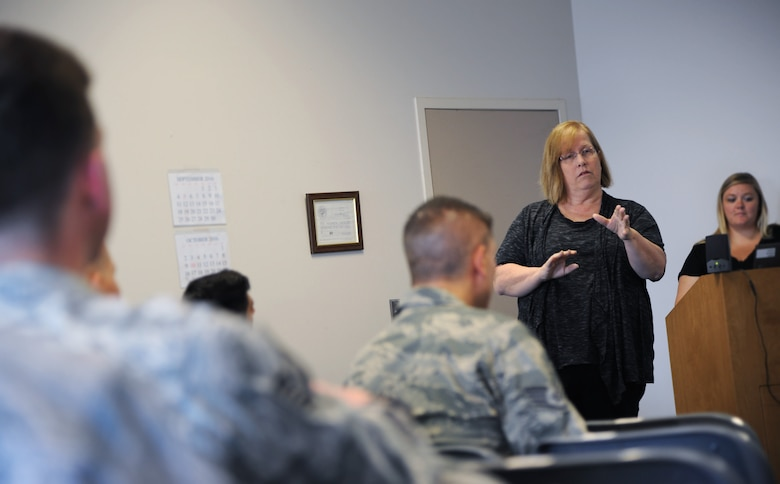 Answering questions from Airmen of the 142nd Fighter Wing during the monthly Wing Diversity and Inclusion Counsel meeting, Portland Air National Guard Base, Ore., Sept. 11, 2016, Jenn Burleton, executive director for TransActive Gender Center, Portland, right, discussed some of the changes regarding transgendered service members with recent DoD policies. (U.S. Air National Guard photo by Tech. Sgt. John Hughel, 142nd Fighter Wing Public Affairs/Released)