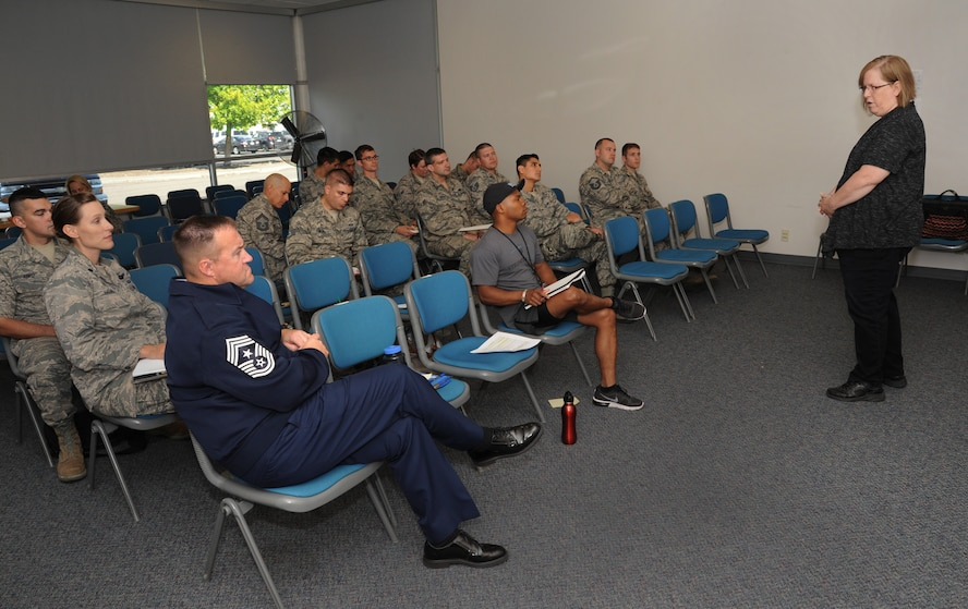 "Addressing Airmen of the 142nd Fighter Wing during the monthly Wing Diversity and Inclusion Counsel meeting, Portland Air National Guard Base, Ore., Sept. 11, 2016, Jenn Burleton, executive director for TransActive Gender Center, Portland, right, led the presentation ""In Service to Our Country"" regarding transgendered service members and recent DoD policy changes. (U.S. Air National Guard photo by Tech. Sgt. John Hughel, 142nd Fighter Wing Public Affairs/Released)"