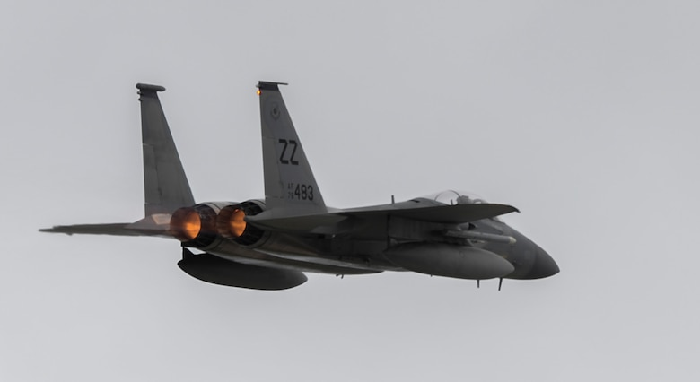 A U.S. Air Force F-15 Eagle assigned to the 44th Fighter Squadron, Kadena Air Base, Japan, takes off during Exercise Valiant Shield at Andersen Andersen AFB, Guam, Sept. 14, 2016. Valiant Shield is a biennial U.S. Air Force, Navy and Marine Corps exercise held in Guam, focusing on real-world proficiency in sustaining joint forces at sea, in the air, on land and in cyberspace. (U.S. Air Force photo by Tech. Sgt. Richard P. Ebensberger)