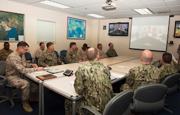 (Sept. 7, 2016) Members of U.S. Naval Forces Central Command (NAVCENT) standby via teleconference during a site-to-site ceremony of the 2015 Admiral Stanley R. Arthur Awards aboard Naval Support Activity Bahrain. The Admiral Stanley R. Arthur Award for Logistics Excellence was established in 1997 as an annual award to recognize both individuals and teams that exemplify logistics professionalism and excellence.