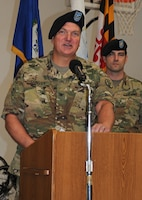 Col. Daniel Convey relinquished command of the U.S. Army Dental Activity at Fort Riley at a change of command ceremony Aug. 30. Lt. Col. Jeffery Hambrice assumed command. Convey will return to Irwin Army Community Hospital and serve as officer in charge of the Oral Maxillo-Facial Surgery Clinic. Behind Convey is Maj. Brendan Bell of DENTAC, who served as master of ceremonies.
