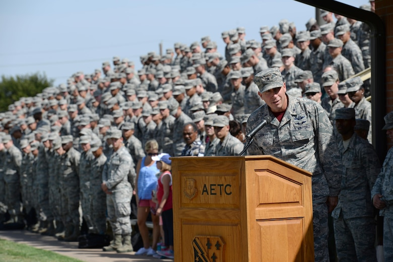 Brig. Gen. Patrick Doherty, 82nd Training Wing commander, gives a speech in remembrance of POW and MIA military members throughout military at Sheppard Air Force Base, Texas, Sept. 9, 2016. More than 83,000 Americans remain missing from WWII, the Korean War, the Cold War, the Gulf Wars and other conflicts. Of those missing, 41,000 of the missing are presumed lost at sea. (U.S. Air Force photo by Senior Airman Kyle E. Gese)