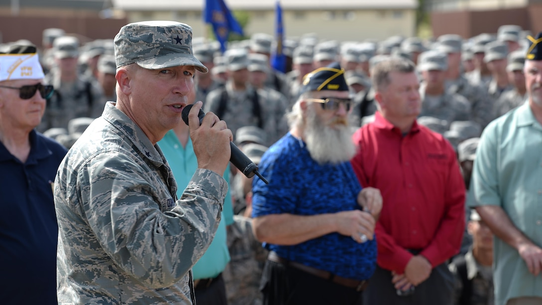 Brig. Gen. Patrick Doherty, 82nd Training Wing commander, talks to everyone who attended the POW MIA parade at Sheppard Air Force Base, Texas, about the significance of military service and an extended thank you to the veterans who previously served, Sept. 9, 2016. More than 83,000 Americans remain missing from WWII, the Korean War, the Cold War, the Gulf Wars and other conflicts. Of those missing, 41,000 of the missing are presumed lost at sea. (U.S. Air Force photo by Senior Airman Kyle E. Gese)