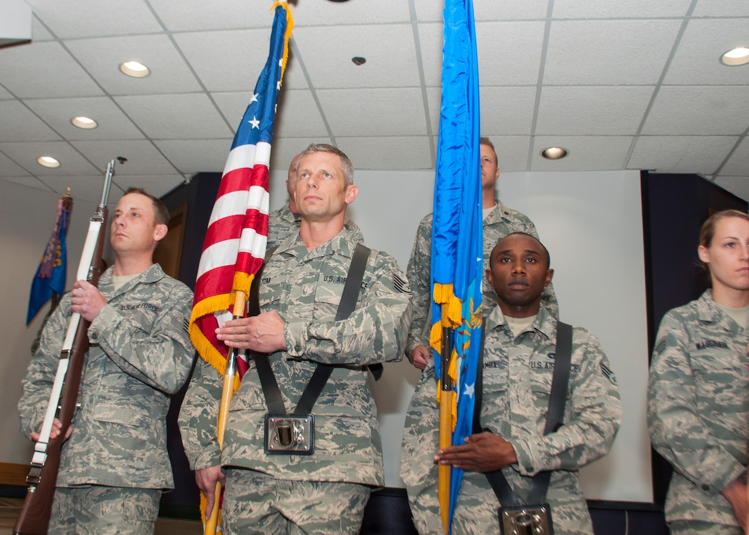 Members of the 507th Air Refueling Wing Honor Guard post the colors during the assumpion of command ceremony for Maj. Ricky Martin II, the new 507th Security Forces Squadron commander, Sept. 11, 2016, at Tinker Air Force Base, Oklahoma. Martin has served in various capacities to include: nuclear security, presidential support, antiterrorism, security forces operations, Iraqi Police transition team and contingency operations. Martin has also worked as a Federal Reserve Law Enforcement Officer in Salt Lake, Utah.  Prior to arriving at Tinker, Martin commanded the 99th Security Forces Squadron at Nellis Air Force Base, Nevada, comprised of 350 military and civilian personnel.  (U.S. Air Force photo/Master Sgt. Grady Epperly)