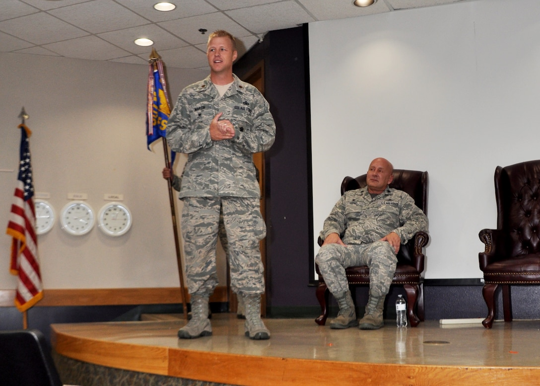 Maj. Ricky Martin II, commander of the 507th Security Forces Squadron, speaks to the audience during his assumption of command ceremony Sept. 11, 2016, at Tinker Air Force Base, Oklahoma. Martin has served in various capacities to include: nuclear security, presidential support, antiterrorism, security forces operations, Iraqi Police transition team and contingency operations. Martin has also worked as a Federal Reserve Law Enforcement Officer in Salt Lake, Utah.  Prior to arriving at Tinker, Martin commanded the 99th Security Forces Squadron at Nellis Air Force Base, Nevada, comprised of 350 military and civilian personnel. (U.S. Air Force photo/Master Sgt. Grady Epperly)