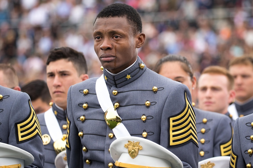 Cadet Alix Idrache sheds tears of joy during the commencement for the U.S. Military Academy's Class of 2016.