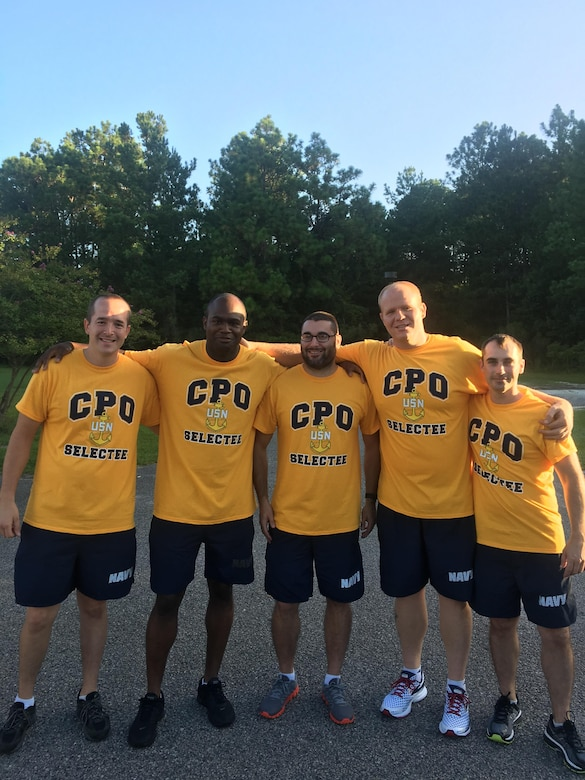 A few of this year's Chief Petty Officer Selects from Joint Base Charleston pose for a picture following a physical training session together. The CPO selects conduct PT and other events leading up to the Chief Pinning Ceremony, in order to build camaraderie and esprit-de-corps. This year's Chief Pinning Ceremony is scheduled for 16 Sept, 2016.