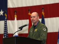 Col. Bradley Cochran, vice commander assigned to the 28th Bomb Wing, speaks at the combat dining out in the Pride Hangar at Ellsworth Air Force Base, S.D., Sept. 9, 2016. Cochran addressed those in attendance to conclude the evening's events which included an official dinner, toasts made in honor of various U.S. leaders and a Prisoner of War/Missing in Action remembrance ceremony. (U.S. Air Force photo by Airman 1st Class Donald C. Knechtel)