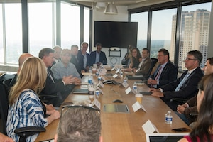 Defense Secretary Ash Carter, right center, listens to members of the Defense Innovation Unit-Experimental during a roundtable at the Capital Factory in Austin, Texas, Sept. 14, 2016. Carter announced the opening of a third DIUx location there.DoD photo by Army Sgt. Amber I. Smith