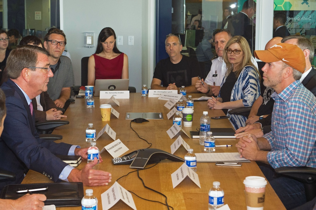Defense Secretary Ash Carter speaks with members of the Defense Innovation Unit Experimental during a round table at Capital Factory in Austin, Texas, Sept. 14, 2016. DoD photo by Army Sgt. Amber I. Smith