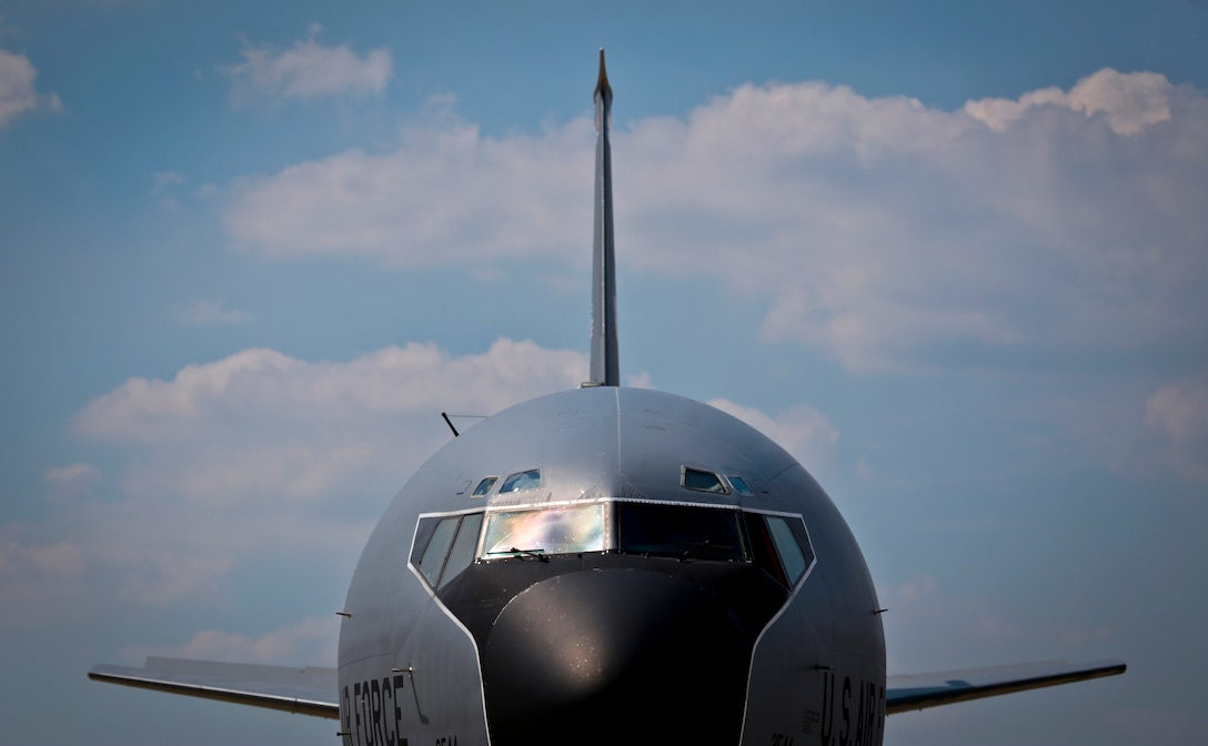 A U.S. Air Force KC-135 Stratotanker from the New Jersey Air National Guard's 108th Wing sits on the flight line after returning from a training mission at Joint Base McGuire-Dix-Lakehurst, N.J., August 31, 2016. The KC-135 is celebrating its 60th Anniversary today, having made its first flight on August 31, 1956. (U.S. Air National Guard photo by Tech. Sgt. Matt Hecht/Released)