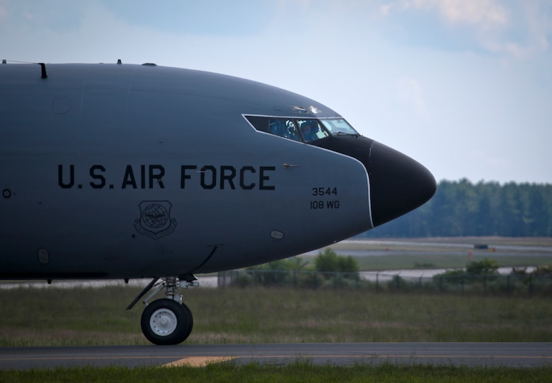 A U.S. Air Force KC-135 Stratotanker from the New Jersey Air National Guard's 108th Wing taxis to the flight line after returning from a training mission at Joint Base McGuire-Dix-Lakehurst, N.J., August 31, 2016. The KC-135 is celebrating its 60th Anniversary today, having made its first flight on August 31, 1956. (U.S. Air National Guard photo by Tech. Sgt. Matt Hecht/Released)