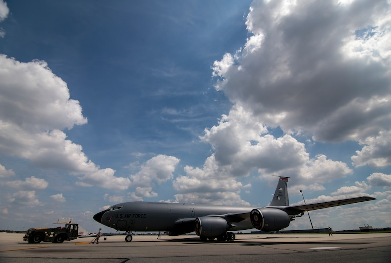 A U.S. Air Force KC-135 Stratotanker from the New Jersey Air National Guard's 108th Wing is towed onto the flight line after maintenance at Joint Base McGuire-Dix-Lakehurst, N.J., August 31, 2016. The KC-135 is celebrating its 60th Anniversary today, having made its first flight on August 31, 1956. (U.S. Air National Guard photo by Tech. Sgt. Matt Hecht/Released)