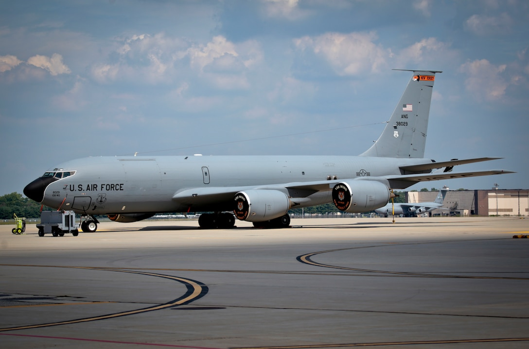 A U.S. Air Force KC-135 Stratotanker from the New Jersey Air National Guard's 108th Wing sits on the flight line at Joint Base McGuire-Dix-Lakehurst, N.J., August 31, 2016. The KC-135 is celebrating its 60th Anniversary today, having made its first flight on August 31, 1956. (U.S. Air National Guard photo by Tech. Sgt. Matt Hecht/Released)