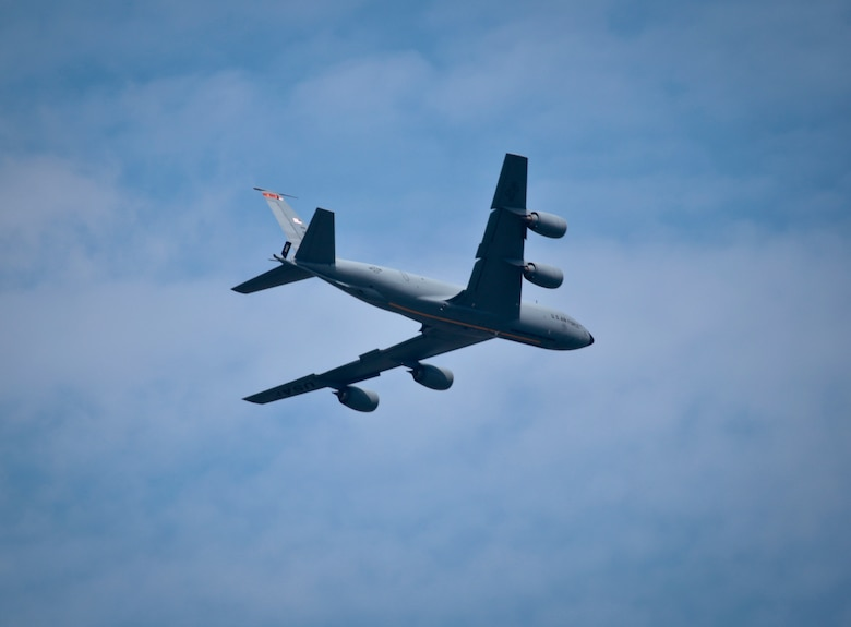 A U.S. Air Force KC-135 Stratotanker from the New Jersey Air National Guard's 108th Wing flies over Joint Base McGuire-Dix-Lakehurst, N.J., August 31, 2016. The KC-135 is celebrating its 60th Anniversary today, having made its first flight on August 31, 1956. (U.S. Air National Guard photo by Tech. Sgt. Matt Hecht/Released)
