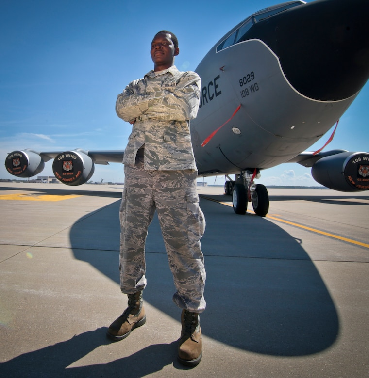 New Jersey Air National Guard Tech. Sgt. Tyrice Pressley, an aircraft mechanic with the 108th Wing, poses for a portrait in front of a KC-135 Stratotanker at Joint Base McGuire-Dix-Lakehurst, N.J., August 31, 2016. (U.S. Air National Guard photo by Tech. Sgt. Matt Hecht/Released)