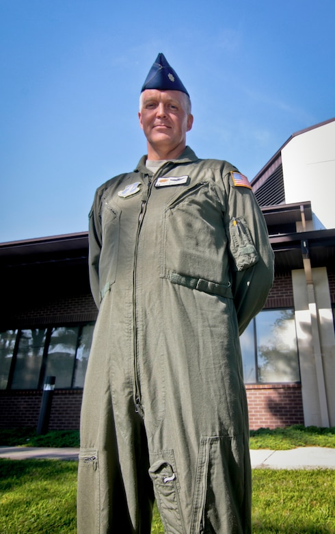 New Jersey Air National Lt. Col. Pete Desautelle, 141st Air Refueling Squadron Commander, poses for a portrait outside of the 108th Operations Group facility at Joint Base McGuire-Dix-Lakehurst, N.J., August 30, 2016. (U.S. Air National Guard photo by Tech. Sgt. Matt Hecht/Released)