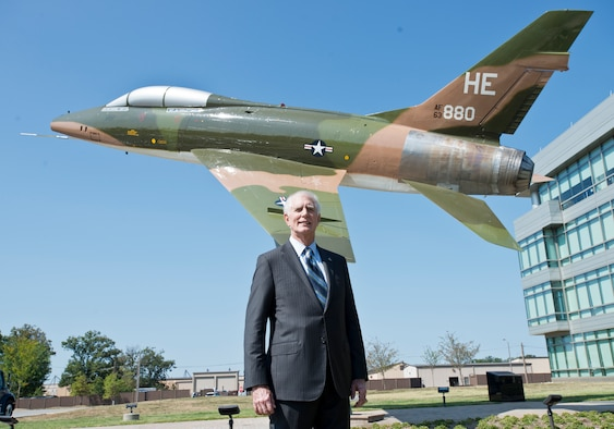 Retired Maj. Gen. Donald Shepperd, former Air National Guard director, poses for a photo at a dedication ceremony for an F-100 Super Sabre static display at the Air National Guard Readiness Center on Joint Base Andrews, Md., Spetember 13, 2016. The aircraft is dedicated to ANG members killed, missing in action or wounded in the Vietnam War, and to the career of retired Maj. Gen. Donald W. Shepperd, who served as director of the ANG from 1994 to 1998 and flew 247 combat missions in Vietnam. (U.S. Air National Guard photo by Staff Sgt. John E. Hillier)
