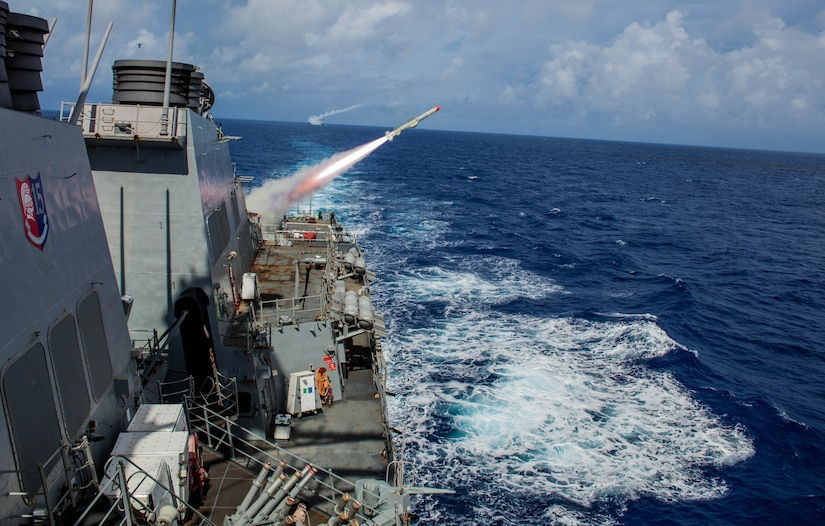 (Sept. 13, 2016) The Arleigh Burke-class guided-missile destroyer USS Benfold (DDG 65) conducts a live fire of a harpoon missile, with the Arleigh Burke-class guided-missile destroyer USS John S. McCain (DDG 56), as part of a sink exercise (SINKEX) during Valiant Shield 2016. Valiant Shield is a biennial, U.S. only, field-training exercise with a focus on integration of joint training among U.S. forces. This is the sixth exercise in the Valiant Shield series that began in 2006. Benfold is on patrol with Carrier Strike Group Five in the Philippine Sea supporting security and stability in the Indo-Asia-Pacific region. (U.S. Navy photo by Sonar Technician (Surface) 2nd Class Aaron Lyons/Released)