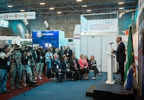 U.S. Ambassador to South Africa Patrick H. Gaspard, gives opening remarks to attendees at the African Aerospace and Defense Expo at Waterkloof Air Force Base, South Africa, Sept. 14, 2016. The U.S. military is exhibiting a C-17 Globemaster III, a KC-135 Stratotanker, a C-130J Super Hercules, an HC-130 King, and an MQ-9 Reaper. The aircraft come from various Air National Guard and Air Force Reserve Command units. The U.S. routinely participates in events like AADE to strengthen partnerships with regional partners. (U.S. Air Force photo by Tech. Sgt. Ryan Crane)