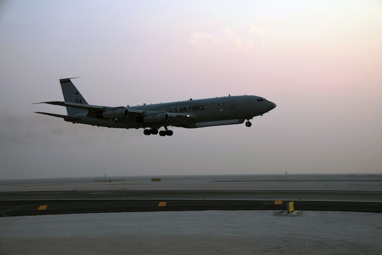 An E-8C Joint Surveillance Target Attack Radar System from the 7th Expeditionary Airborne Command and Control Squadron touches down after a mission on Sept. 12, 2016, at Al Udeid Air Base, Qatar. TheE-8C JSTARS is a joint U.S. Air Force and U.S. Army program that detects, tracks and clasifies moving ground vehicles in all conditions deep behind enemy lines by using a multi-mode side looking radar. The system evolved from Army and Air Force programs to develop, detect, locate and attack enemy armor at ranges beyond the forward area of troops. (U.S. Air Force photo/Tech.Sgt. Carlos J. Trevio/Released)