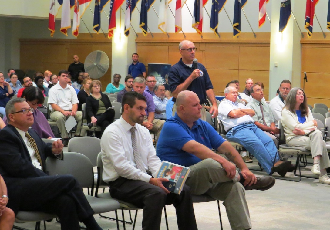 Sam Phillips, NSA Philadelphia and Mechanicsburg, Pennsylvania emergency management officer, discusses how to prepare for a workplace emergency at DLA Troop Support's annual National Preparedness Month event Sept. 8 in Philadelphia.