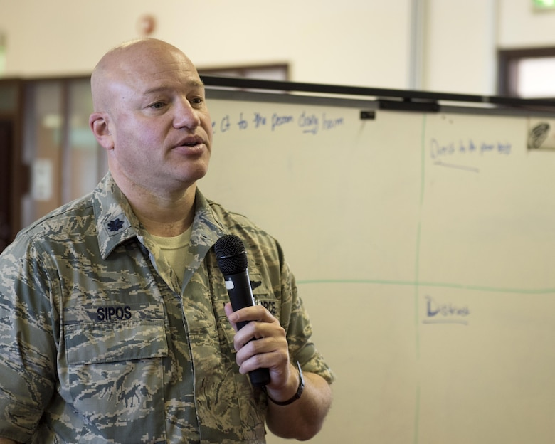 U.S. Air Force Lt. Col. Peter Sipos, 48th Aerospace Medicine Squadron flight commander, attempts to solve one of the scenarios during a Green Dot general overview training at Royal Air Force Lakenheath, England, Sept. 9. Participants in the training solve several realistic scenarios using methods taught to them during classroom discussion. (U.S. Air Force photo/Senior Airman Malcolm Mayfield)