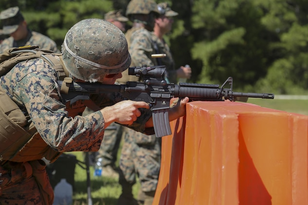 Cpl. Joshua Hodel, Stone Bay target shed noncommissioned officer in charge, fires an