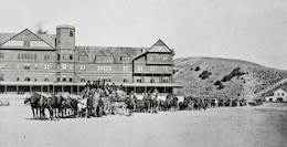 U.S. Army Corps of Engineers road builders at Mammoth Hot Springs, Hotel 1880s.