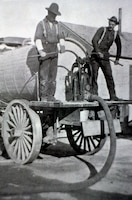 Early pump wagons held 750-gallon of water and were used by the U.S. Army Corps of Engineers in 1902 to reduce dust on park roads and discourage the deterioration of the road surface.