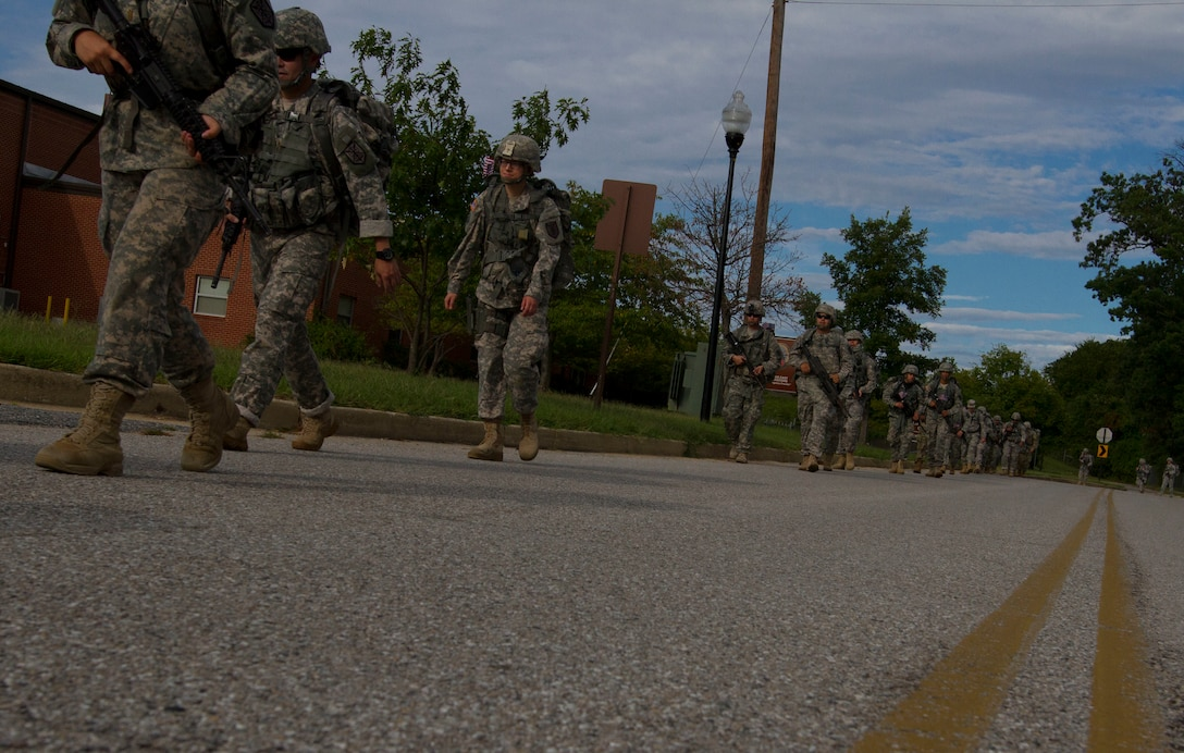 U.S. Army Reserve Soldiers from the 200th Military Police Command participated in a road march on Fort Meade, Md., Sept. 11. The march was five miles long and each of the Soldiers were required to carry a ruck that weighed at least 35 pounds.  (U.S. Army Reserve photo by Sgt. Audrey Hayes)