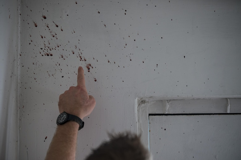 A U.S. Army special agent points to a real-blood spatter on a wall during a crime scene investigation walk-through during Capital Shield 2016 at Fort Belvoir, Virginia, Sept. 14. Approximately 15 U.S. Army Reserve criminal investigative special agents trained alongside 25 active duty agents for the first time in a joint training exercise known as Capital Shield, focusing on crime scene processing, evidence management and hostage negotiations, held Sept. 13-15. The reserve Soldiers participating in this year's Capital Shield are agents from the 733rd Military Police Battalion (Criminal Investigation Division), headquartered in Fort Gillem, Georgia, which reports to the 200th Military Police Command. The active duty agents belong to various offices across the Washington CID Battalion, headquartered at Fort Myer, Virginia. (U.S. Army Reserve photo by Master Sgt. Michel Sauret)