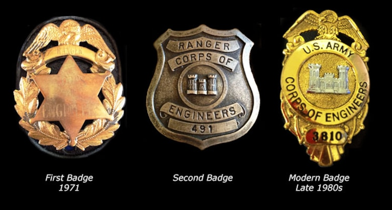 "Evolution of the U.S. Army Corps of Engineers, Natural Resource Management Specialist Badge. The first badges were purchased in 1971 through the U.S. Marshalls Service in Lexington, Kentucky and custom engragved. The second badge incorporated the ""Corps Castle"". The modern badge was adopted about 1987."