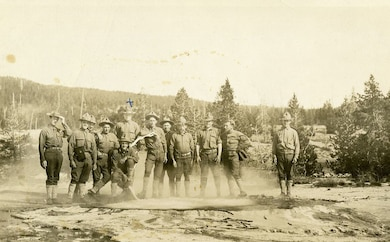 Army Scouts at a Yellowstone Geyser 1912. The ranger uniform, be it National Park Service, Forest Service or U.S. Army Corps of Engineers, got its start with the First Cavalry's arrival at Yellowstone in 1886. From 1886-1916, cavalry troops were assigned at several national parks.