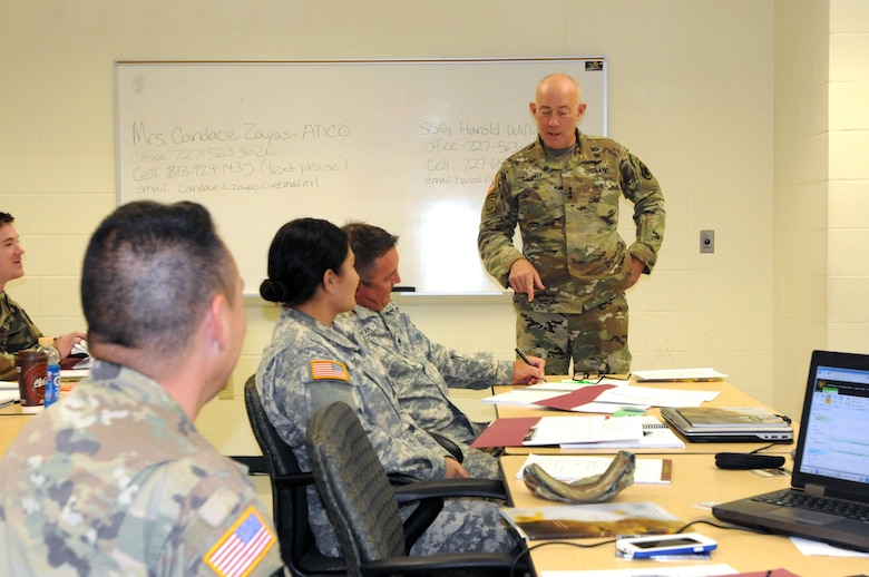 The Commanding General for U.S. Army Reserve Command, Lt. Gen. Charles D. Luckey, meets with senior leaders and staff members of Headquarters and Headquarters Detachment, Army Reserve Medical Command in Pinellas Park, Florida during his battlefield circulation. The commanding general also met with Soldiers and leaders from Army Reserve Medical Management Center co-located with ARMEDCOM at the C.W. Bill Young Armed Forces Reserve Center. ARMEDCOM enhances readiness, medical support, and medical training and is the largest medical footprint of the Army Reserve with more than 100 different medical units located throughout the United States.